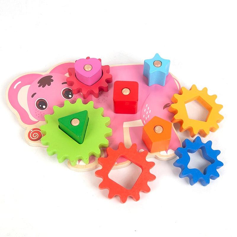 Fun Gears Set Building Block Montessori Wooden Toy Children Jigsaw Model Building Kits Homeschool Supplies Educational Baby Gift