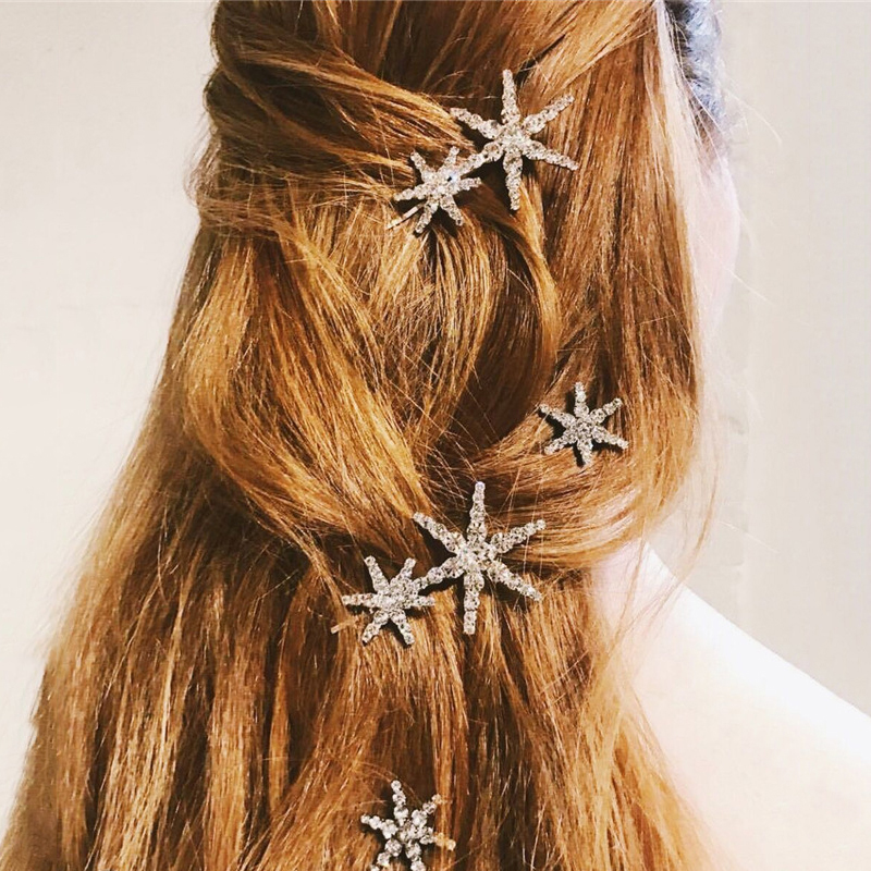 Ins Fashion Silver Snow Rhinestone Hair Clips For Women Girls Snap Elegant Hair Pin Styling Accessory Barrette Hair Accessories