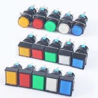 Interruptor momentáneo con luz/sin LED, 1NO1NC/2NO2NC, 12V, 24V, 220V, interruptor de botón de retención de 16MM