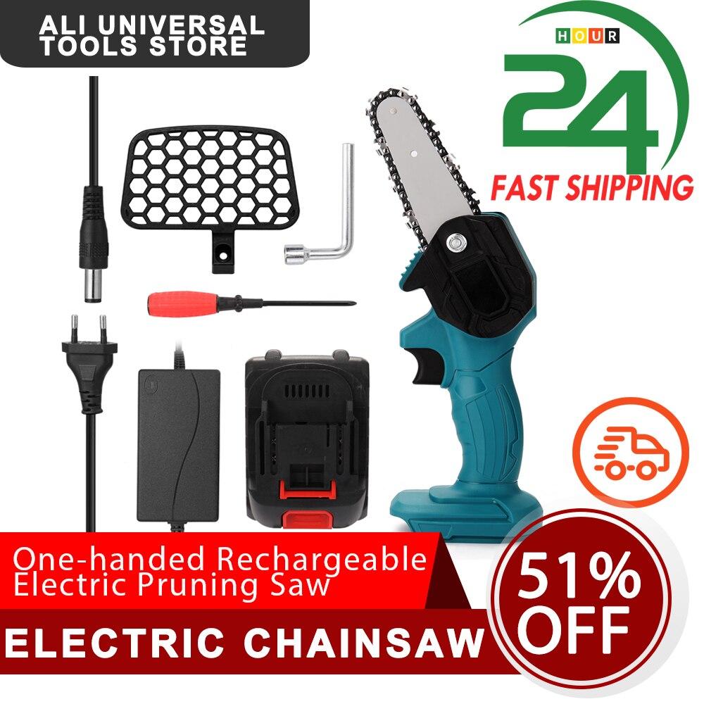 Портативная перезаряжаемая электрическая пила для обрезки, шлифованная электрическая мини-бензопила, электроинструмент для деревообрабо...