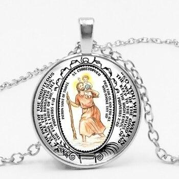 Collar de moda Delgado Kabo collar Vintage decoración cristiana San Cristóbal patrón...