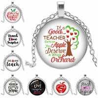 2019 Hot Sale Art Art Pendant Necklace Apple Life Tree TEACHER LOVE Inspire Life Love Round Convex Glass Pendant Necklace