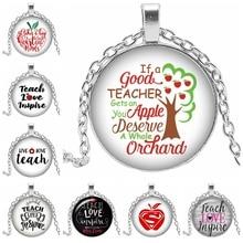 2019 Hot Sale Art Pendant Necklace Apple Life Tree TEACHER LOVE Inspire Love Round Convex Glass