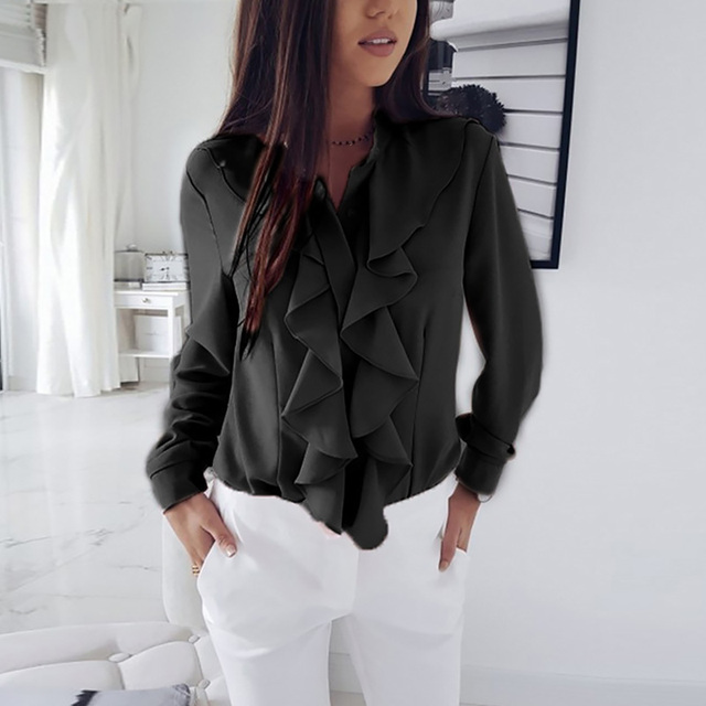 Long Sleeve Ruffled Shirt Women 2020 Fashion Spring Autumn Elegant Blouse Streewear High Quality Pure Color White Black Tops 5