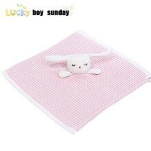 Blanket Comforter Smooth-Toy Pink Shower 35cm Birthday-Gift Knitted Bunny Newborn Sleep