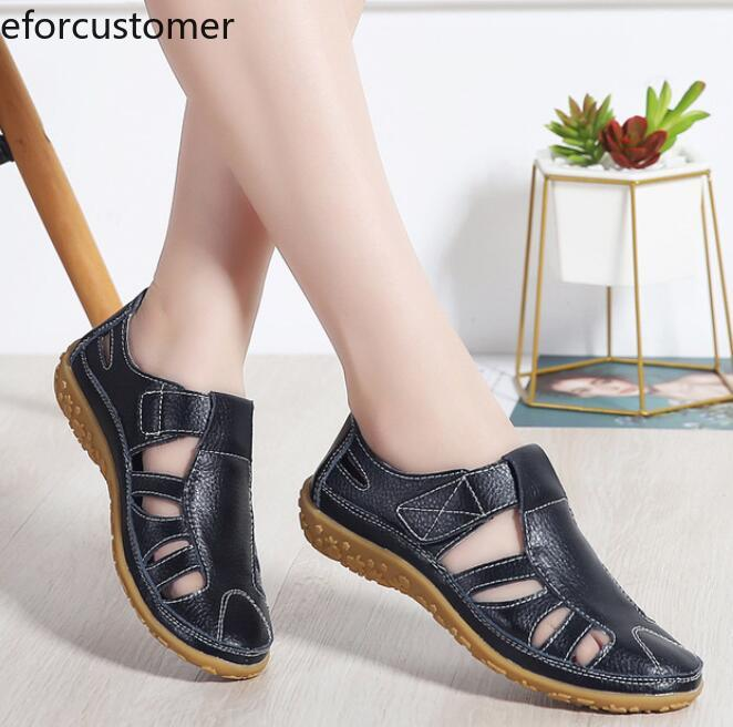 Sandals Shoes Classic Flat Women Gladiator Genuine-Leather Summer Ladies Hollow-Out Casual
