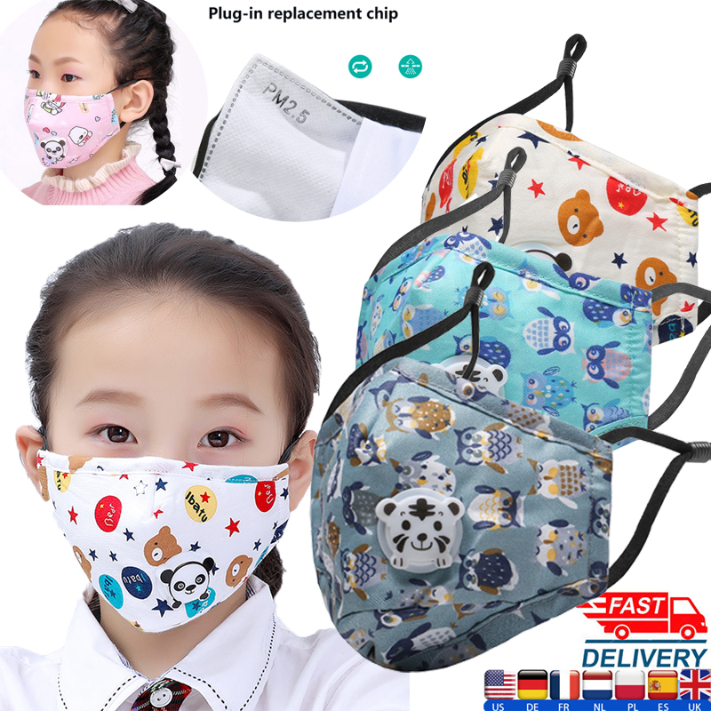 5pcs 2-8 Years Old Washable Cartoon Boys Girls Kids Mask Cotton Masks Cute Children Mouth Mask Windproof Anti-Dust Face Masks
