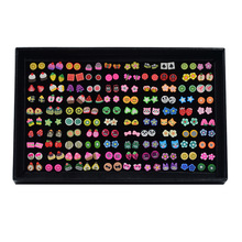 100 Pairs/lot Cute Tiny Fruit Animal Stud Earrings Set For Baby Girls Mixed Flow