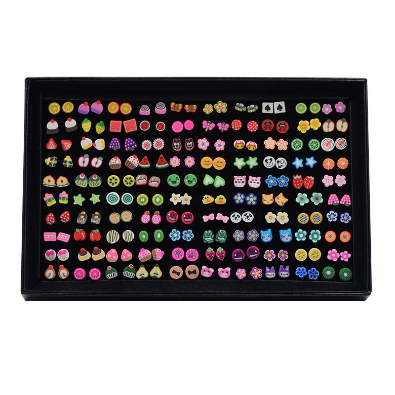 100 pares/lote Minúsculo Bonito Fruit Animal Brincos Set Para Os Bebés Flor Mista Polymer Clay Brincos Presentes Dos Miúdos Jóias