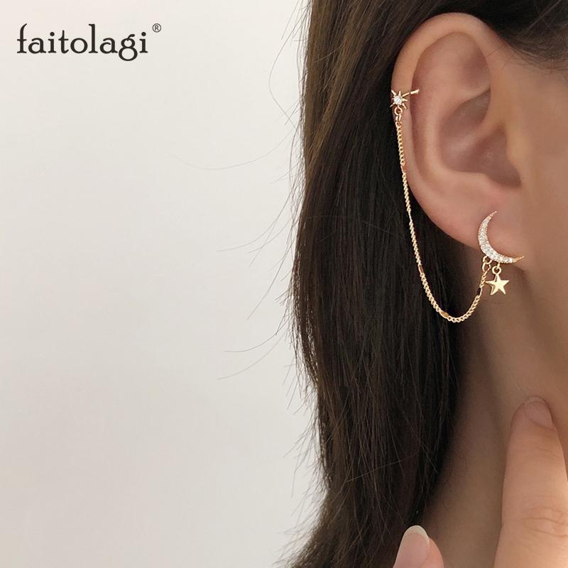Simple Moon Star Rhinestone Long Chain Earrings For Women Shine Sun Crescent Geometric Tassel Piercing Earring Party Jewelry