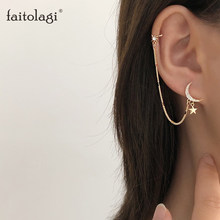 Simple lune étoile strass longue chaîne boucles d'oreilles pour les femmes briller soleil croissant géométrique gland Piercing boucle d'oreille bijoux de fête