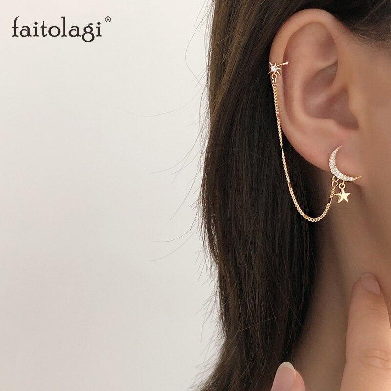 Simple lune étoile strass longue chaîne boucles doreilles pour les femmes briller soleil croissant géométrique gland Piercing boucle doreille bijoux de fête