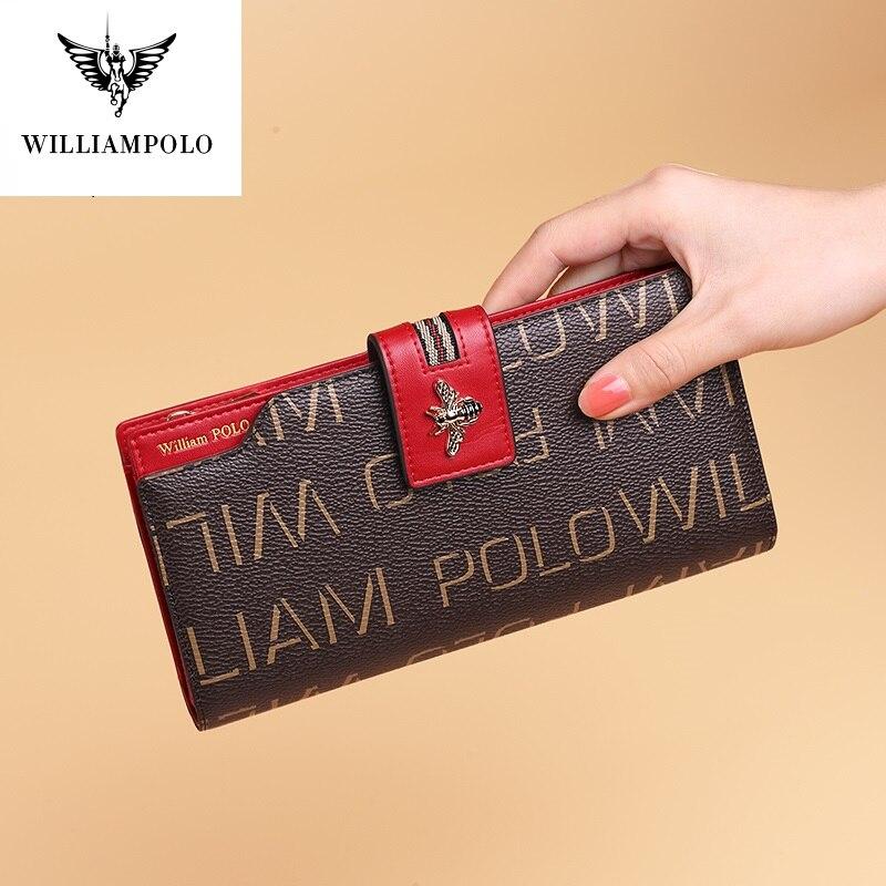 Simples de Grande Titular do Cartão Titular do Cartão de Banco Williampolo Novo Produto Longo Carteira Multi-cartão Titular Capacidade Feminina de Banco
