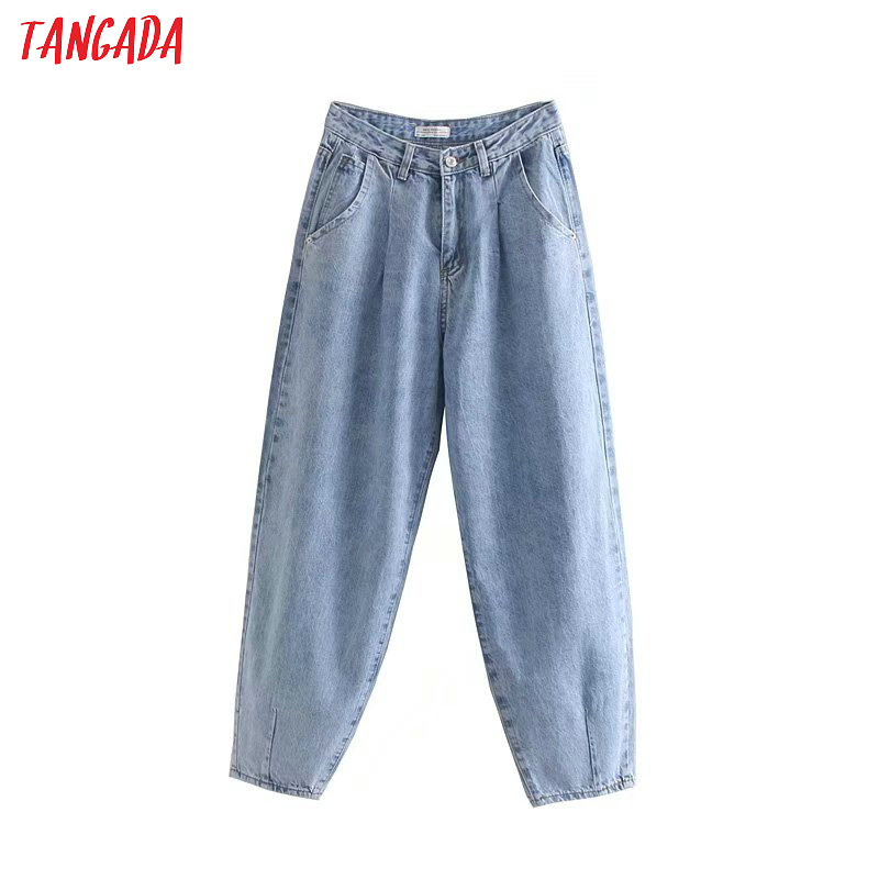 Tangada Fashion Women Loose Mom Jeans Long Trousers Pockets Zipper Loose Streetwear Female Blue Denim Pants 4M38