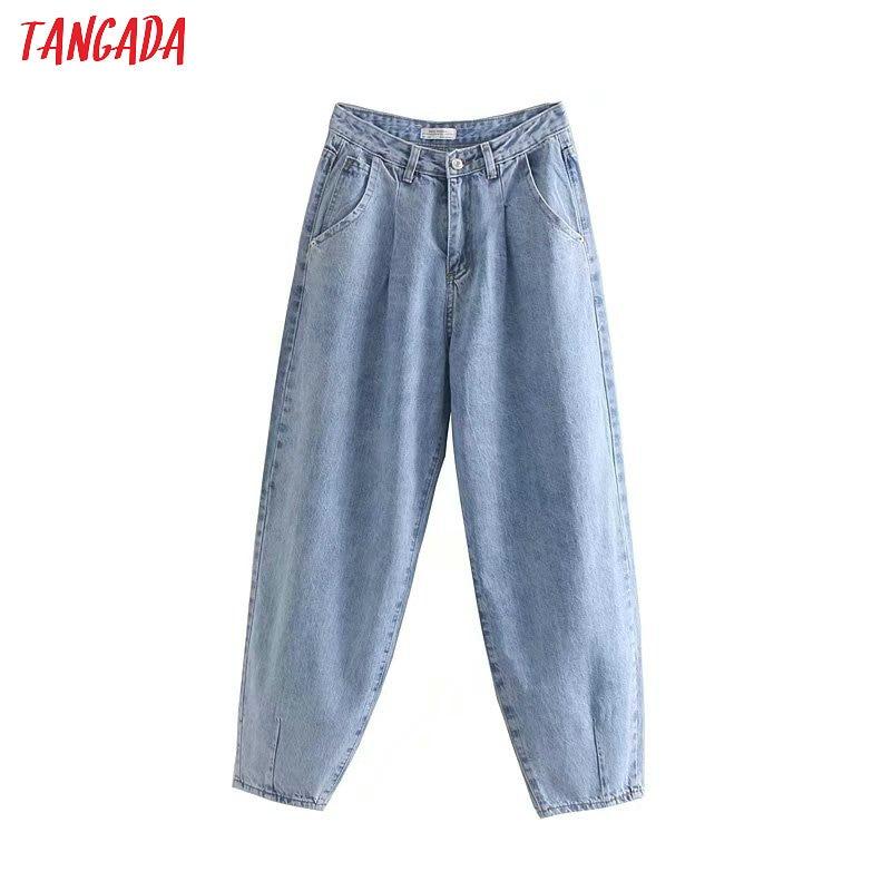 Tangada fashion women loose mom jeans long trousers pockets zipper loose streetwear female blue denim pants 4M38(China)