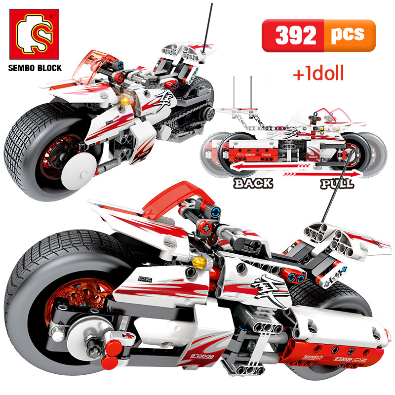 392pcs City Pull Back Off-road Moto Model Building Blocks Legoingly Technic Motorcycle Assemble Bricks Educational Toys For Boys 1