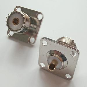 Разъем PL259 SO239 UHF гнездо с 4 отверстиями фланцевое Панельное крепление 25*25 мм припой чашка Кабель Латунь RF коаксиальный адаптер