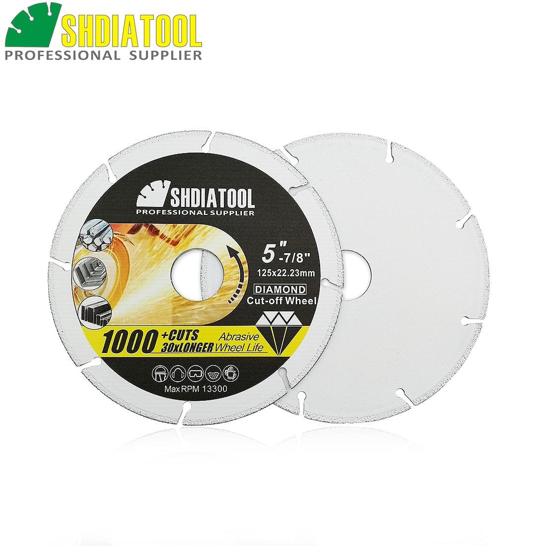 SHDIATOOL 2pcs Vacuum Brazed Diamond Metal Cutting Disc Diamond Cut-off Wheel Blade Cutting Steel Tube, Iron Rebar, Angle Steel