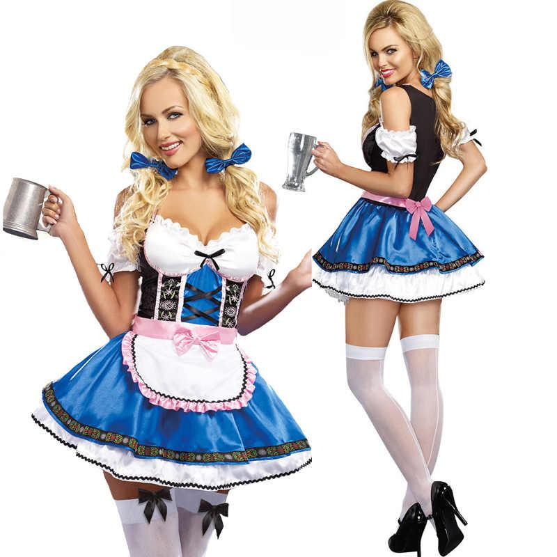 Carnaval Oktoberfest Dirndl Kostuum Tavern Wench Serveerster Maid Bar Outfit Cosplay Halloween Fancy Party Dress
