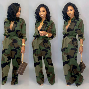 New Women Camo Printed Clubwear Playsuit Bodysuit Party Jumpsuit Romper Camouflage Strap Dungarees Harem Long Trousers Overalls(China)
