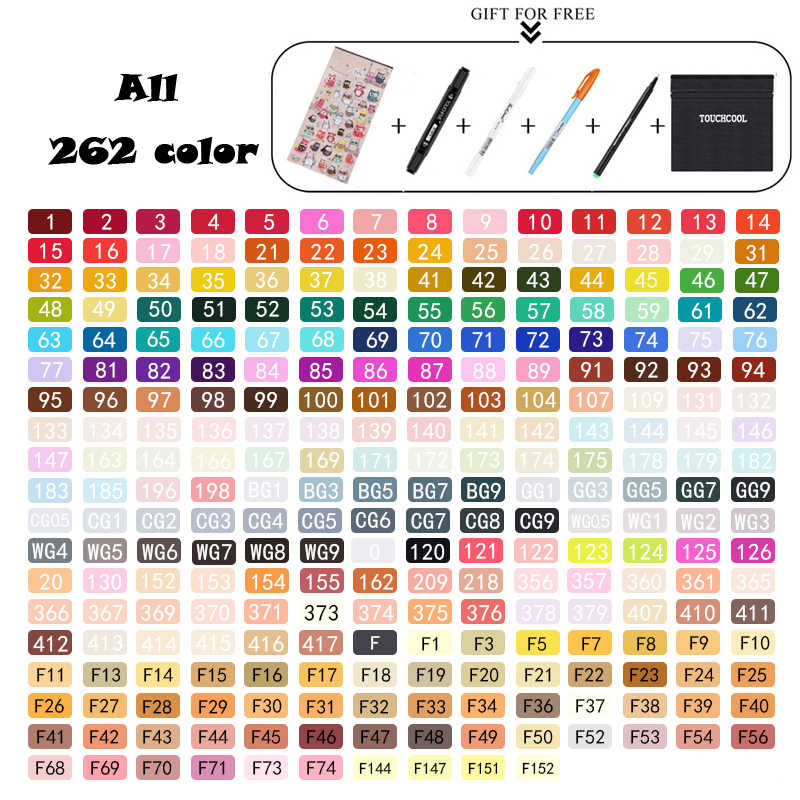 TOUCHCOOL אמנות סמן 168 צבע מרקר עט צבעי מים מברשת עט סקיצה סמן כפולה טיפ ציור אמנות מברשת עטים אלכוהול מבוסס