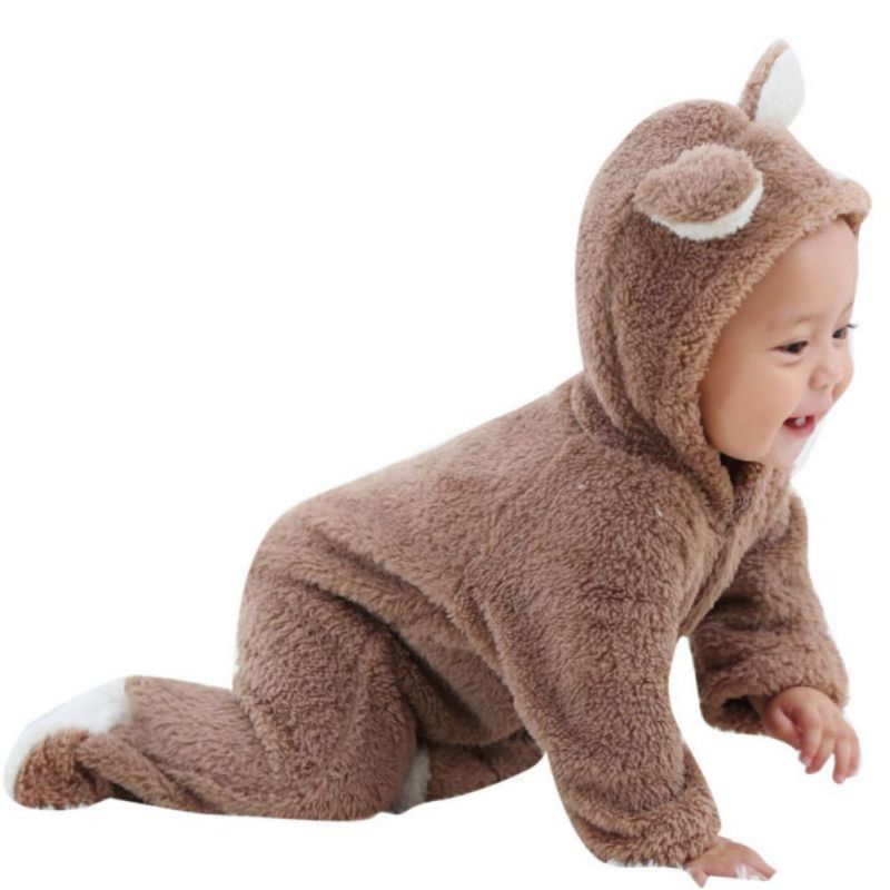New Baby Rompers Winter Warm Longsleeve Coral Fleece Newborn Baby Boy Girl Clothes Infant Jumpsuit Animal Overall Pajamas