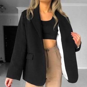 Image 4 - HziriP 2020 Elegant Black Single breasted Women Blazer Fashion Vintage Solid Loose Work Wear Tops Outerwear Female Jacket