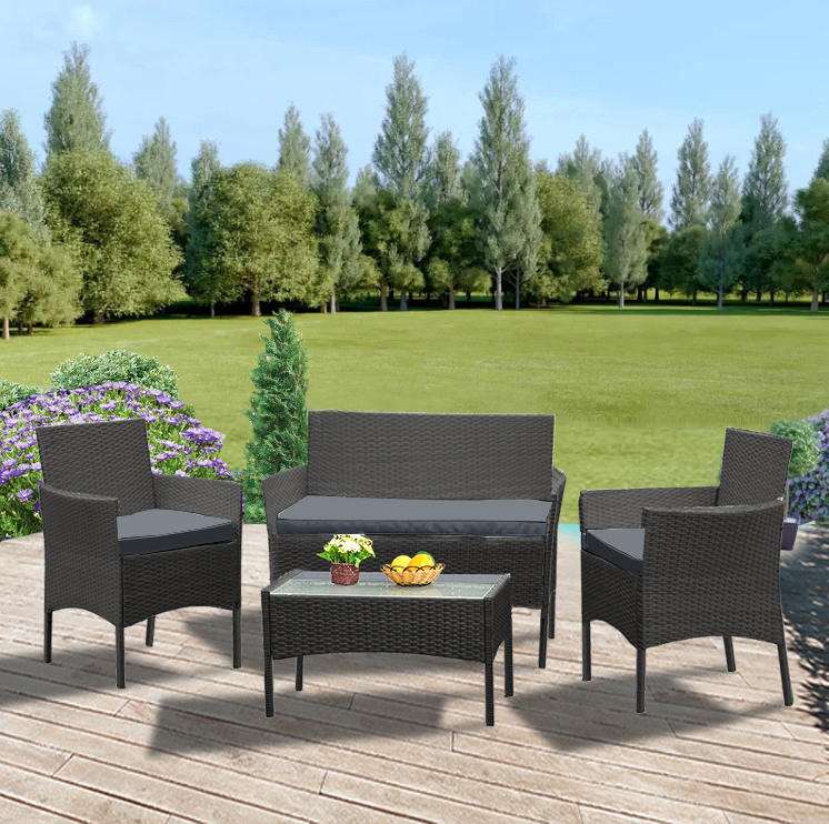 Panana Widen Rattan Sofa Chair Table 4pcs Hot Sale Wicker Garden Furniture Coffee Table Rattan Sofa Chair Stool Fast Delivery