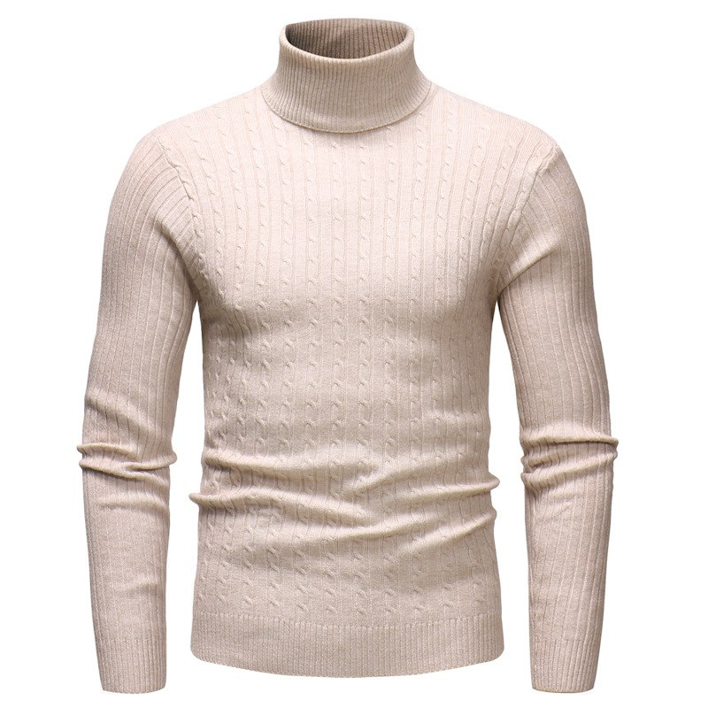 Autumn Winter Long-sleeved Warm Sweater For Men Solid Color High Collar Knitted Sweater Casual Pullover Men\'s Slim Fit Sweaters