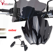 "Universal preto motocicleta windshield windscreen 7/8 ""& 1"" guiador montagem para honda bmw yamaha windscreen"