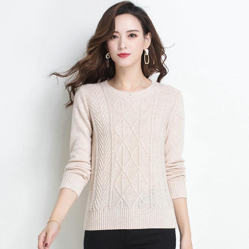 Woman Cashmere Pullover Sweater Pure Woolen Sculptured Knitwear Women Round Collar Beige Pink Camel Wool Soft Knit Tops Sweater