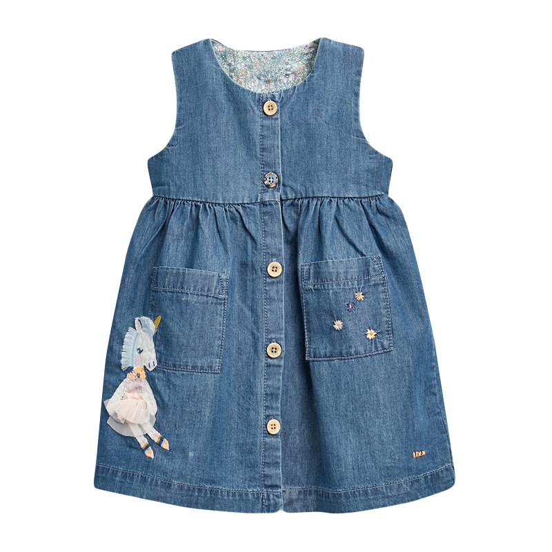 Little Maven 2021 Summer Baby Girl Clothes Children Unicorn Denim Color Sundress Pinafore Sleeveless Dress for Kids 2-7 Years 5