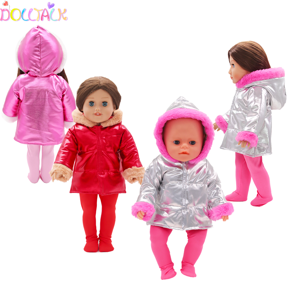 Winter Cotton Doll Clothes For 43cm New Baby Doll Cute Hoodie With Plush Suit Clothes For 18 Inch Ameican Our Generation Dolls
