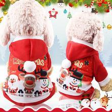 Christmas Theme Pet Clothes Winter Warm Dog Cute Cartoon Clothing For Small Medium Cloth Chihuahua Costume