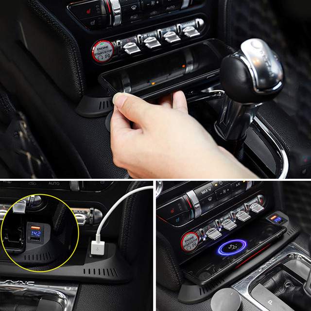 Vtear Car QI Wireless Charger For Ford Mustang Accessories 2016-2021 Interior Modification 15W Fast Phone Charging Plate 6