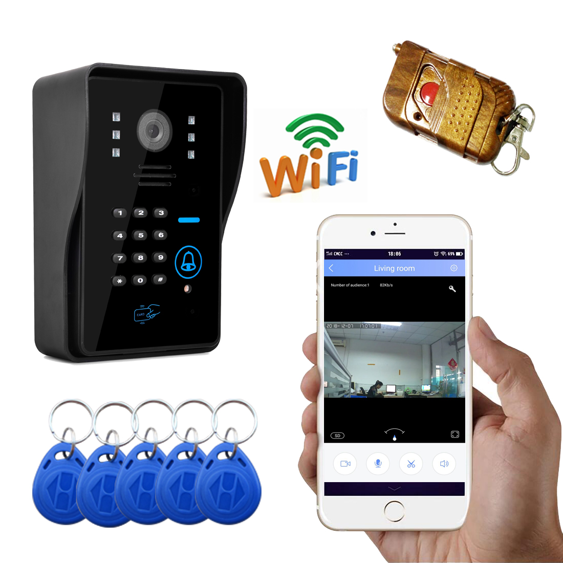 720P WIFI Wireless Video Door Phone Support IOS Android For IPad Smart Phone Tablet Control Wireless Intercom