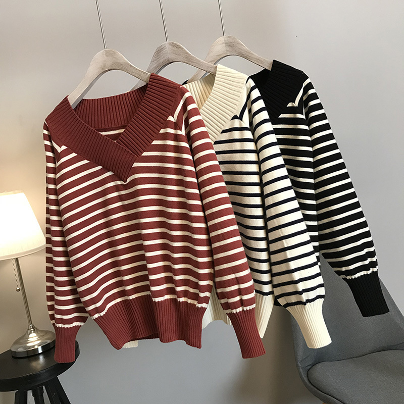 Autumn Women Wear Striped Sweaters, Winter Neck Tights, Comfortable Knitted Sweater Truien Dames Pull Femme Jersey Knitting