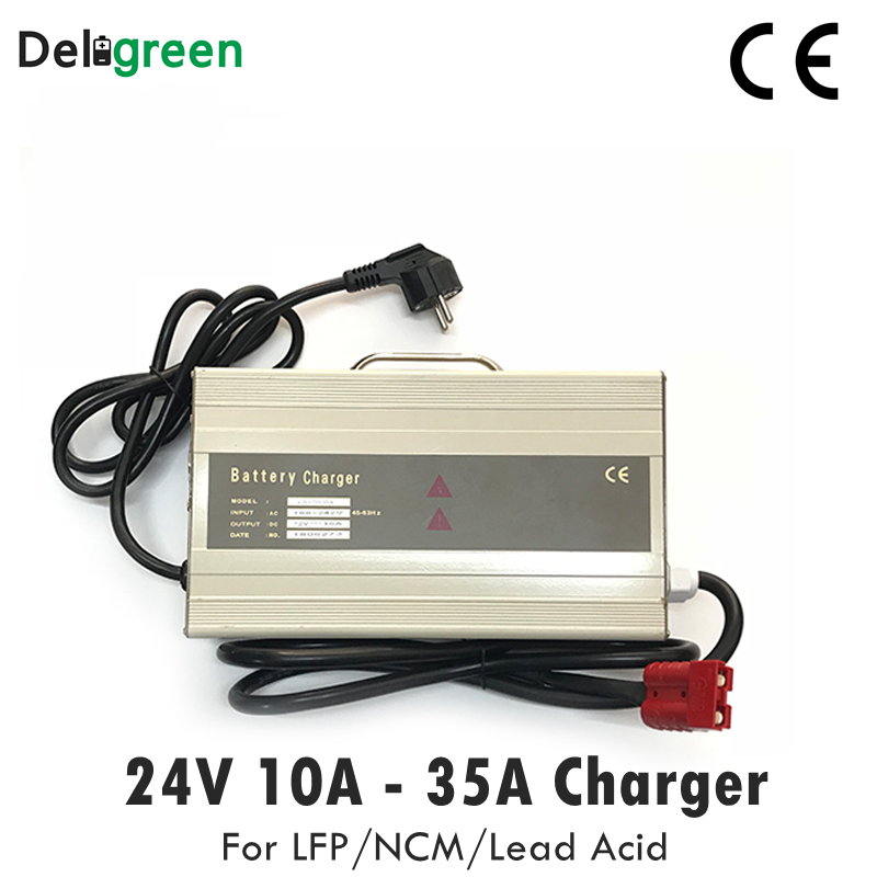 24V 10A 15A Smart Draagbare Oplader voor Elektrische heftruck, scooter voor 7S 29.4V Li Ion 8S 29.2V Lifepo4 LiNCM loodaccu