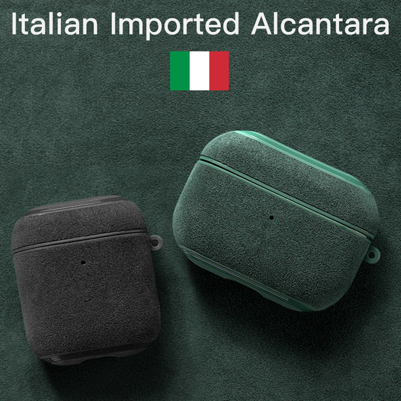 YMW Italian Alcantara Case for AirPods Pro Luxury Artificial Leather AirPod case for AirPods 2  amp  1 Cases Wireless Charging
