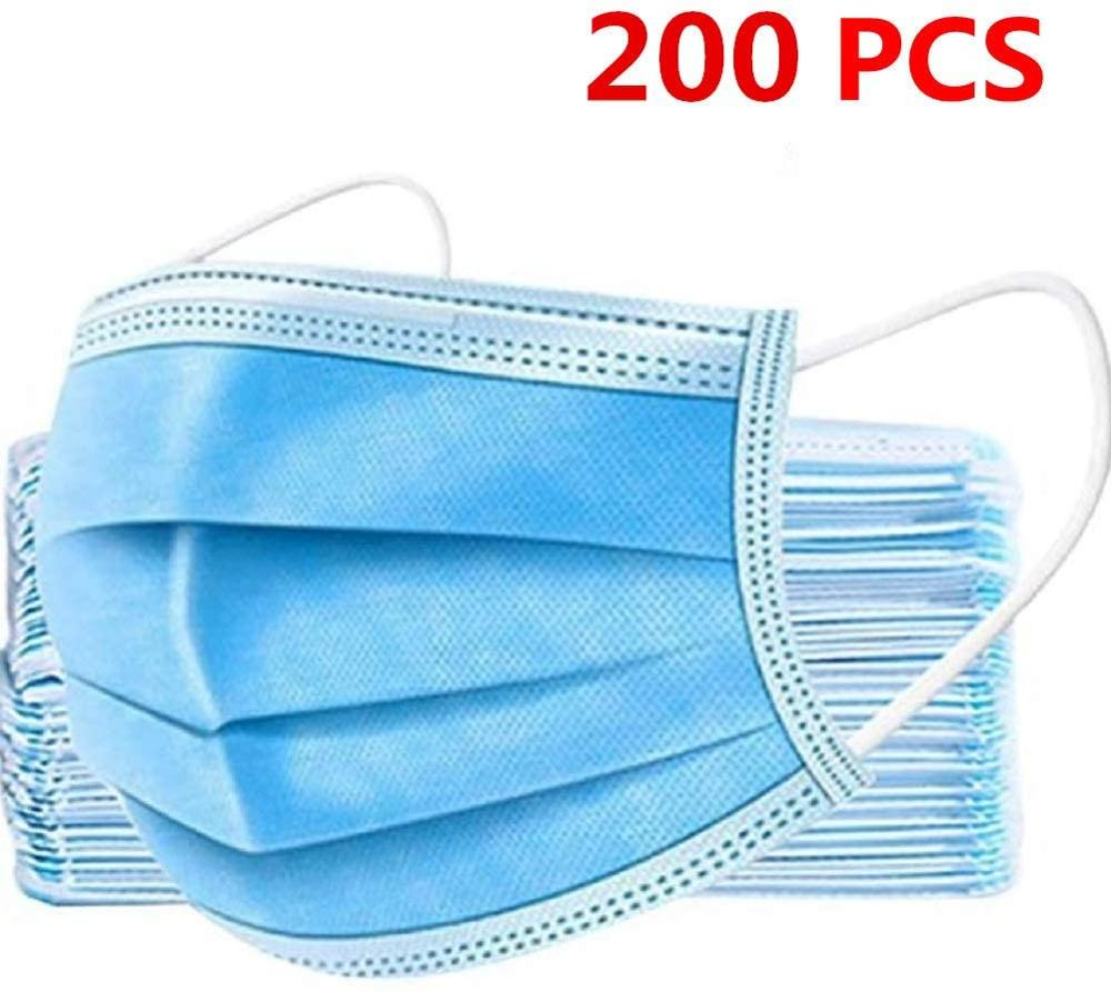 200pcs Disposable Face M/Ask  3-Ply Protective Non-Woven Disposable Elastic Mouth Soft Breathable Hygiene Safety Face Ma/Sks