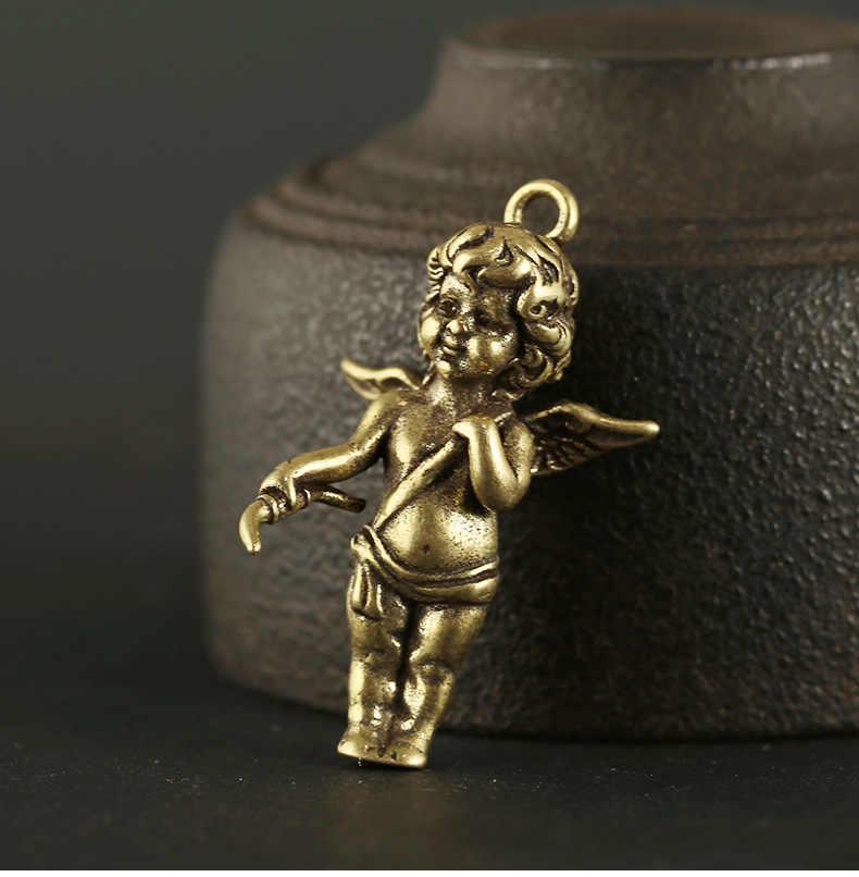 בעבודת יד מוצק פליז רטרו פסל כנפי מלאך איור DIY תליון מלאכת קישוט מיניאטורי Keychain תליון a1109