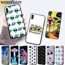 WEBBEDEPP UFO ET cute Emoji Silicone soft Case for iPhone 5 SE 5S 6 6S Plus 7 8 11 Pro X XS Max XR кружка стеклянная с пластиковой соломинкой je peux pas 450 мл