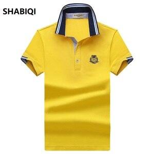 SHABIQI 2019 брендовая мужская рубашка поло, Детская Хлопковая футболка с короткими рукавами рубашка для мужчин рубашки-поло Homme классические по...