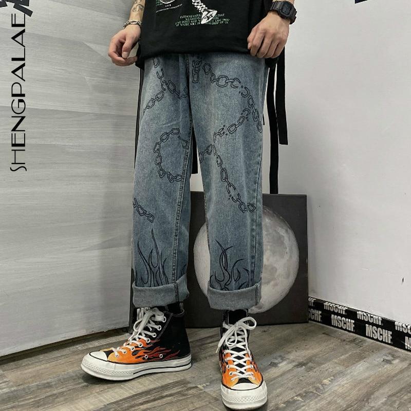 SHENGPALAE 2020 New Autumn Casual Jeans Woman Long Trousers Cowboy Female Loose Streetwear Graffiti Flame Print Pants ZA5128