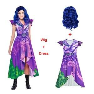 Descendentes 3 disfraz vestido para niñas Halloween Año Nuevo Eve Mal Cosplay niño peluca Elza disfraz vestido chico ceremonia paño 10 12