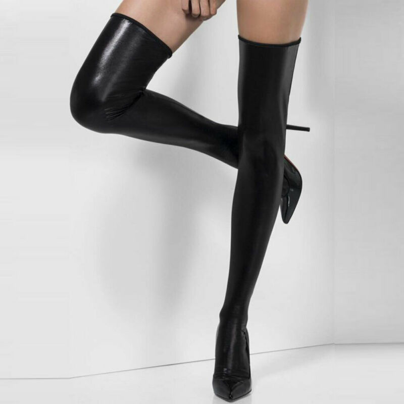 Women Oil Shine Glossy Sexy Tights Thigh-high Length Crotch Pantyhose Faux Leather Stockings For Female