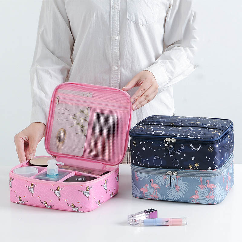 Portable Women Two Styles Waterproof Toiletry Bags Travel Organizer Necessary Beauty Case Makeup Bag Bath Wash Make Up Box