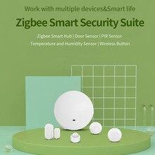 Ewelink zigbee suíte de segurança inteligente hub & sensor de porta & sensor pir sensor de temperatura e umidade & botão sem fio