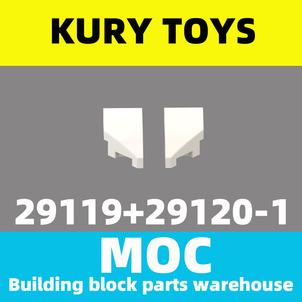 Kury Toys DIY MOC For 29119+29120 Building Block Parts For Wedge 2 X 1 With Stud Notch Right +Left For Curved Brick-Slope