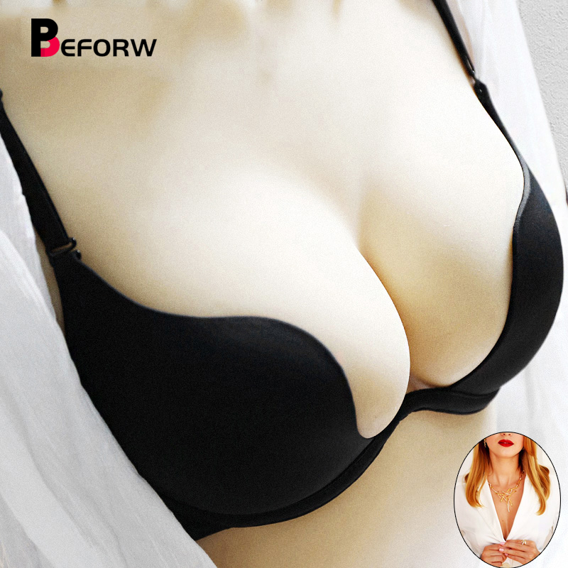 1Pcs Deep U Sexy Lingerie Backless Bra Baju Seluar Ultra-low-cut Brassiere Push Up Bras Untuk Wanita Vs Brand Intimates Bralette